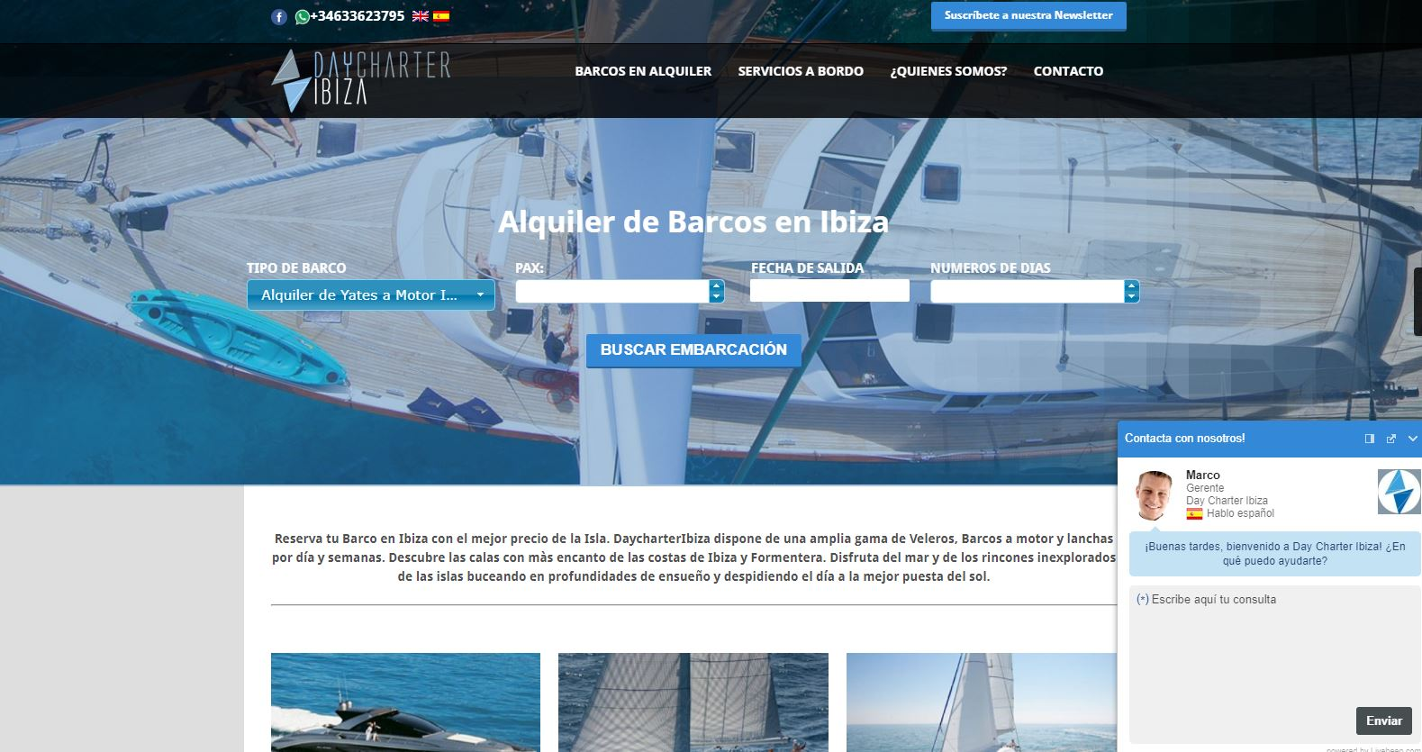 Think Different Day Charter Ibiza web
